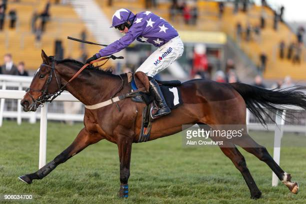 Joshua Moore riding All Currencies win The Betfred TV British Stallion Studs EBF Mares' 'National Hunt' Novices' Hurdle at Newbury racecourse on...