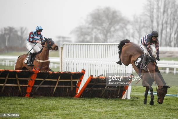 Joshua Moore riding Et Moi Alors fall at the last and bring down Harmonise and Marc Goldstein in The Horse Comes First Juvenile Hurdle Race at Ascot...