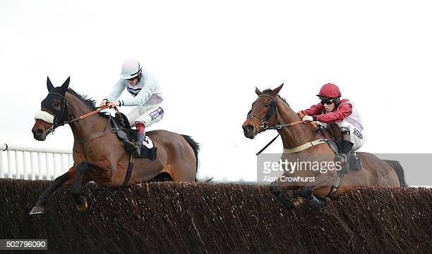 Joshua Moore riding Violet Dancer clear the last to win The Betfred Novices' Limited Handicap Steeple Chase from Stilletto at Newbury racecourse on...