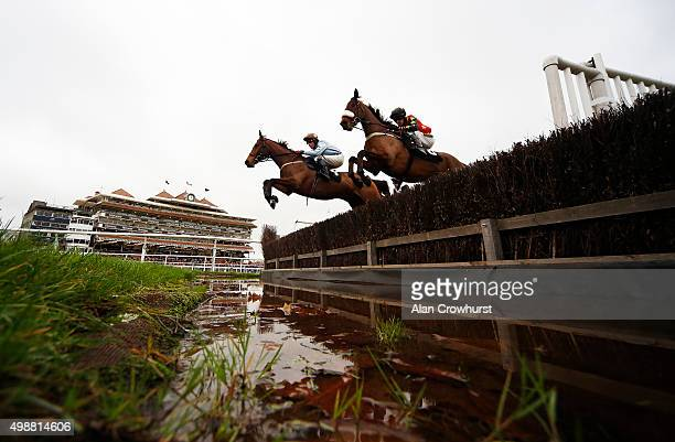 Joshua Newman riding Harry's Farewell clear the water jump on their way to winning The Alan Mackintosh Amateur Riders' Handicap Steeple Chase at...
