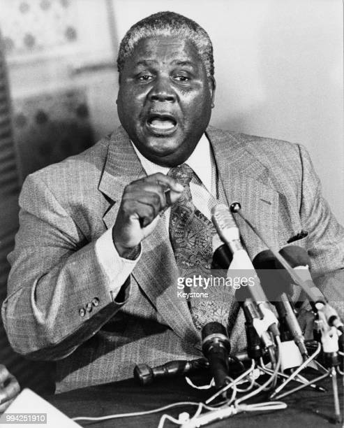 Joshua Nkomo a leader of the Zimbabwe African People's Union holds a press conference circa 1975