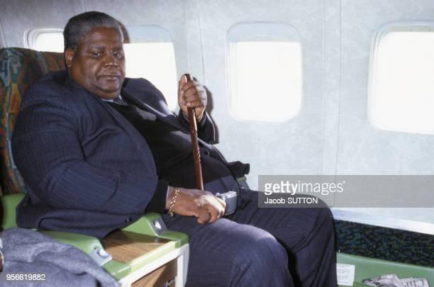 Joshua Nkomo leader du ZAPU en avion en janvier 1980 au Zimbabwe