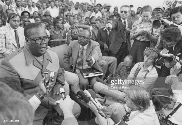 Joshua Nkomo leader of the ZAPU addresses a press conference following the breakdown of talks with Rhodesian Prime Minister Ian Smith March 1976...