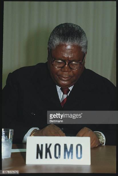 Joshua Nkomo Zimbabwean politician at conference | Location Woodlands Texas USA