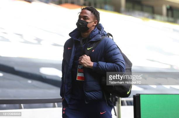 Joshua Oluwayemi of Tottenham Hotspur arrives prior to the Premier League match between Tottenham Hotspur and Manchester United at Tottenham Hotspur...