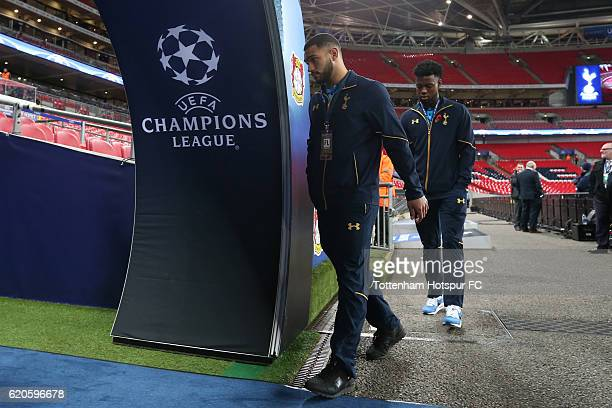 Joshua Onomah and Cameron CarterVickers of Tottenham Hotspur look on prior to the UEFA Champions League Group E match between Tottenham Hotspur FC...
