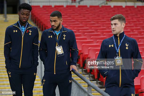 Joshua Onomah Cameron CarterVickers and Thomas Carroll of Tottenham Hotspur look on prior to the UEFA Champions League Group E match between...