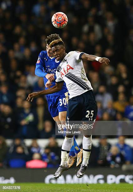 Joshua Onomah of Spurs and Ben Chilwell of Leicester City compete for a header during The Emirates FA Cup third round match between Tottenham Hotspur...