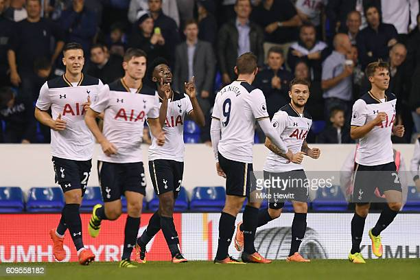 Joshua Onomah of Tottenaham Hotspur celebrates scoring his sides fourth goal during the EFL Cup Third Round match between Tottenham Hotspur and...