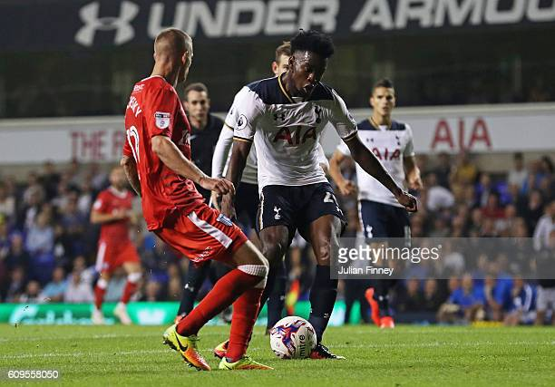 Joshua Onomah of Tottenaham Hotspur scores his sides fourth goal during the EFL Cup Third Round match between Tottenham Hotspur and Gillingham at...
