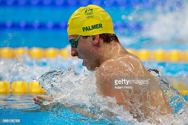 Joshua Palmer of Australia competes in the Men's 100m Breaststroke heat 3 on Day 1 of the Rio 2016 Olympic Games at the Olympic Aquatics Stadium on...