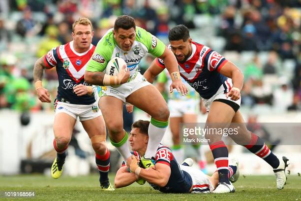 Joshua Papalii of the Raiders makes a line break during the round 23 NRL match between the Canberra Raiders and the Sydney Roosters at GIO Stadium on...