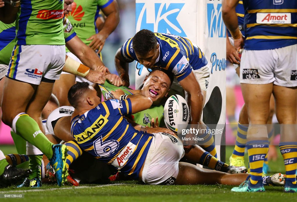 Joshua Papalii of the Raiders scores atry during the round six NRL match between the Canberra Raiders and the Parramatta Eels at GIO Stadium on April 14, 2018 in Canberra, Australia.