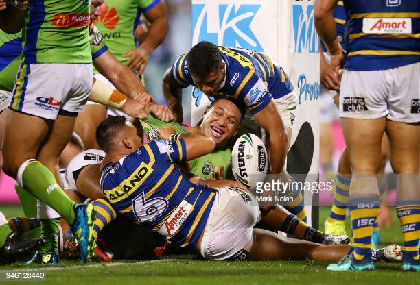 Joshua Papalii of the Raiders scores atry during the round six NRL match between the Canberra Raiders and the Parramatta Eels at GIO Stadium on April...