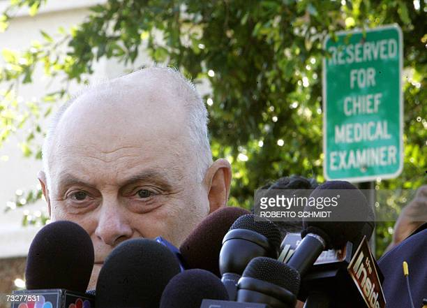 Joshua Perper Chief Medical Examiner for Broward County speaks at a press conference in front of the Coroner's office in Fort Lauderdale Florida 09...