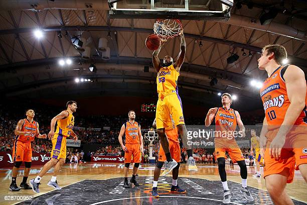 Joshua Powell of the Kings dunks during the round 10 NBL match between the Cairns Taipans and the Sydney Kings at the Cairns Convention Centre on...