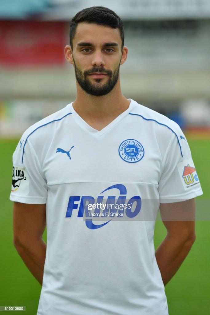 Joshua Putze poses during the Third League team presentation of Sportfreunde Lotte at Frimo Stadium on July 16, 2017 in Lotte, Germany.