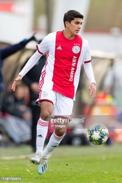 Joshua Pynadath of Ajax Amsterdam U19 controls the ball during the UEFA Youth League match between Ajax Amsterdam U19 and FC Valencia U19 on December...