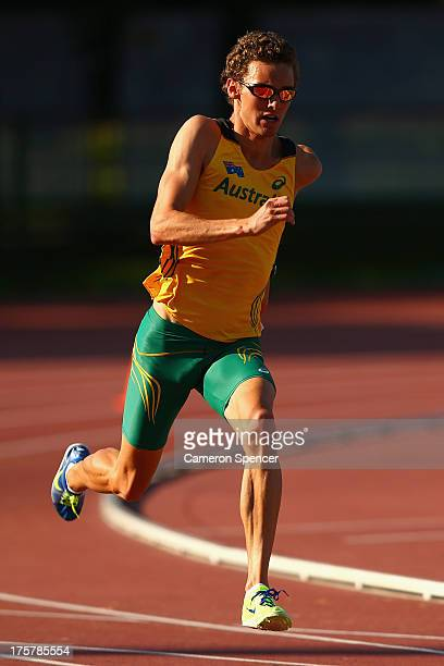 Joshua Ralph of Australia sprints at the Northern Arena training track ahead of the 14th IAAF World Athletics Championships Moscow 2013 on August 8...