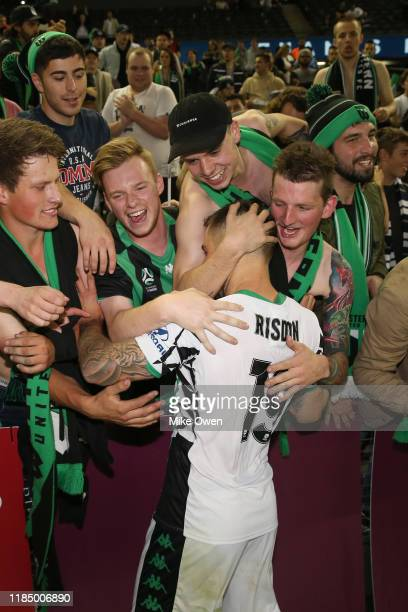 Joshua Risdon of Western United celebrates with fans after winning the round four A-League match between Melbourne Victory and Western United at...