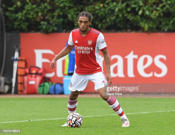 Joshua Robinson of Arsenal during the U18 Premier League match between Arsenal U18 and Birmingham City U18 at London Colney on September 25, 2021 in...