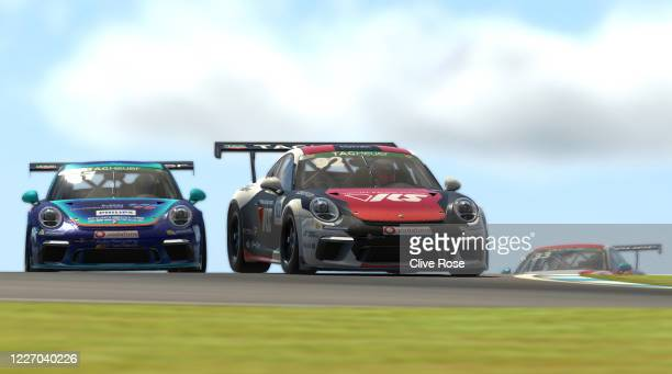 Joshua Rogers of Australia and VRS Coanda Simport in action during Round Three of the Porsche TAG Heuer Esports Supercup run at Donnington Park on...