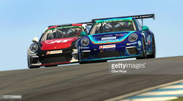 Joshua Rogers of Australia and VRS Coanda Simport passes Alejandro Sanchez of Spain and MSI eSports for second position during the feature race in...