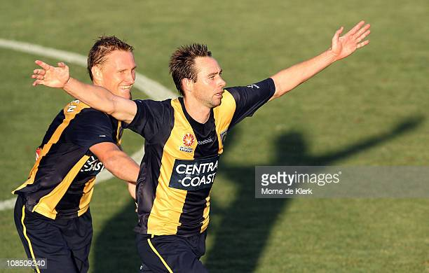 Joshua Rose of the Mariners celebrates after scoring a goal during the round 25 ALeague match between Adelaide United and the Central Coast Mariners...