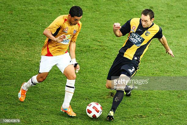Joshua Rose of the Mariners competes with Ali Abbas of the Jets during the round 27 ALeague match between the Central Coast Mariners and the...