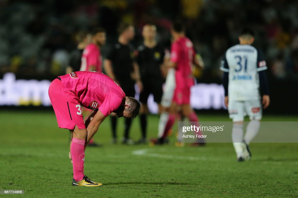 Joshua Rose of the Mariners looks dejected after drawing 1-1 during the round four A-League match between the Central Coast Mariners and the Melbourne Victory at Central Coast Stadium on October 29, 2017 in Gosford, Australia.