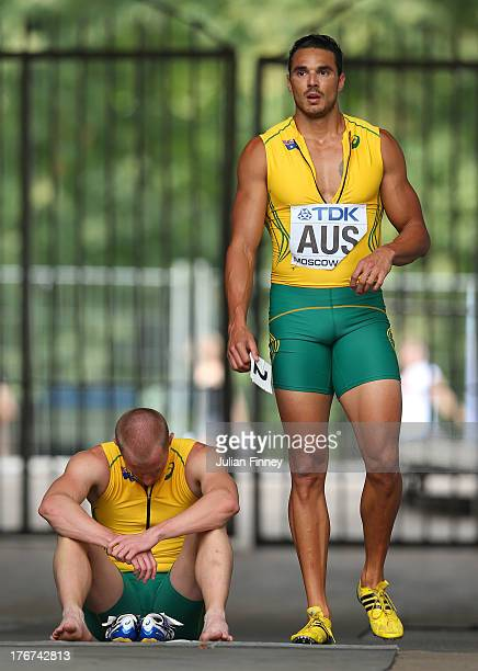Joshua Ross and Andrew McCabe of Australia look despondent as they fail to finish their Men's 4x100 metres heat during Day Nine of the 14th IAAF...