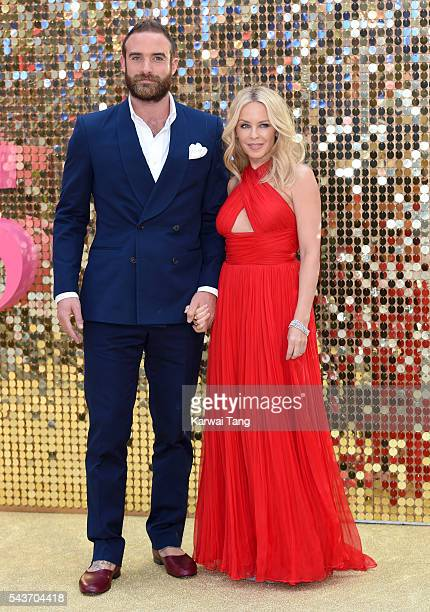 Joshua Sasse and Kylie Minogue attend the World Premiere of 'Absolutely Fabulous The Movie' at Odeon Leicester Square on June 29 2016 in London...