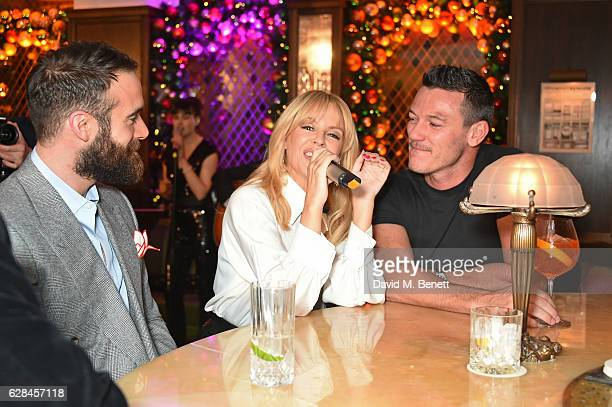 Joshua Sasse Kylie Minogue and Luke Evans attend an intimate performance with Kylie Minogue at The Ivy to kick off The Ivy 100 Centenary celebrations...