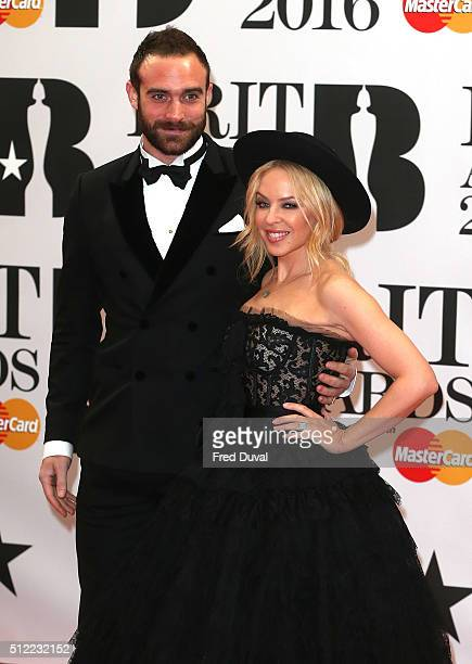 Joshua Sasse Kylie Minogue attend the BRIT Awards 2016 at The O2 Arena on February 24 2016 in London England