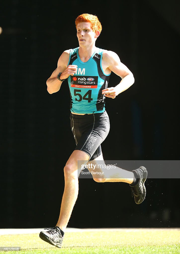 Joshua Schoenfeld runs as he competes in the 3km Time Trial during the 2015 AFL Draft Combine at Etihad Stadium on October 11, 2015 in Melbourne, Australia.
