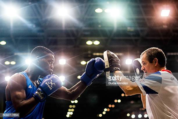 Joshua Senna Kwesi of Great Britain in action before his fight in the Men's Light Heavy class at the International Boxing Tournament Aquece Rio Test...