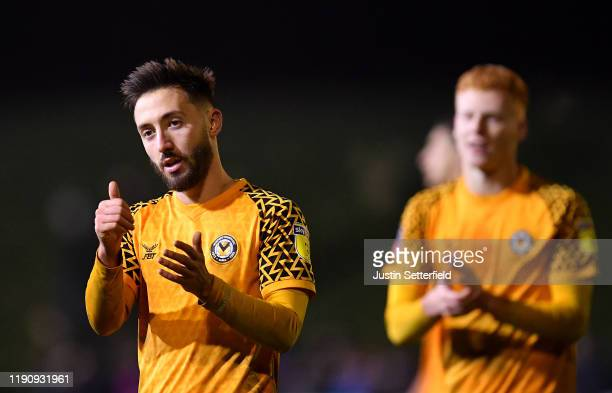 Joshua Sheehan of Newport County AFC claps the fans after the FA Cup Second Round match between Maldon and Tiptree FC abd Newport County AFC at The...