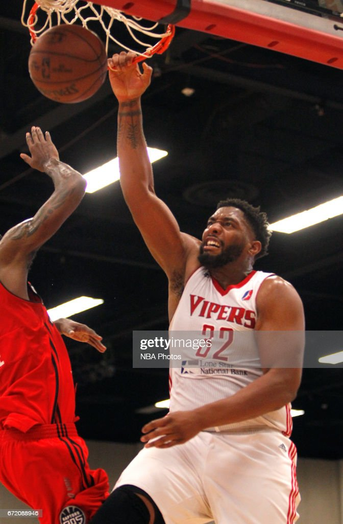 Joshua Smith #32 of the Rio Grande Valley Vipers dunks the ball on the Raptors 905 during the first game of the NBA D-League Finals at the McAllen Convention Center April 23, 2017 in McAllen, Texas. (NOTE