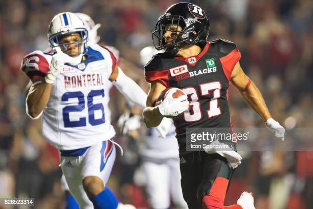 Joshua Stangby of the Ottawa Redblacks in Canadian Football League play on July 19 2017 at TD Place Stadium in Ottawa Canada The Ottawa Redblacks...