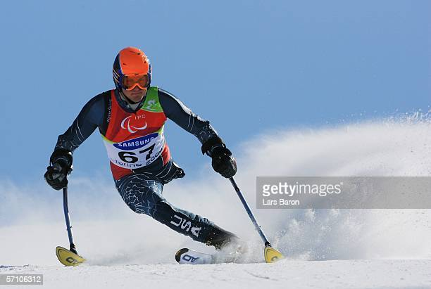 Joshua Sundquist of the United States of America competes in the Men's Giant Slalom during Day Six of the Turin 2006 Winter Paralympic Games on March...