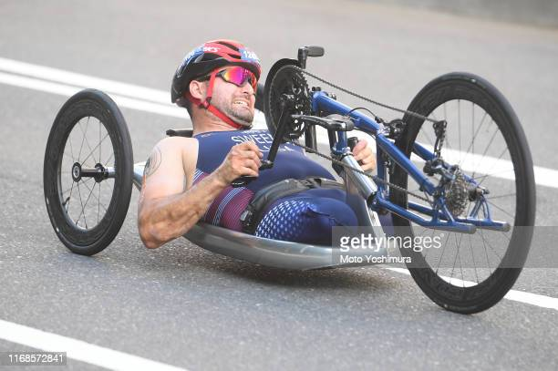 Joshua Sweeney of United States of America competes in the Men's PTWC bike during the ITU Paratriathlon World Cup on August 17, 2019 in Tokyo, Japan.