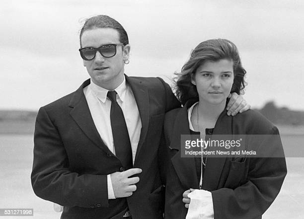 U2 Joshua Tree Tour Páirc Uí Chaoimh Cork Ireland Bono and his wife Ali Hewson arriving at Cork Airport prior to the concert