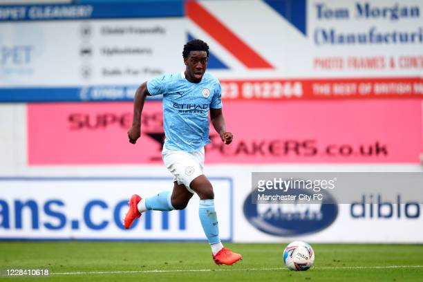 Joshua Wilson-Esbrand of Manchester City during the EFL Trophy match between Mansfield Town and Manchester City U21 at One Call Stadium on September...