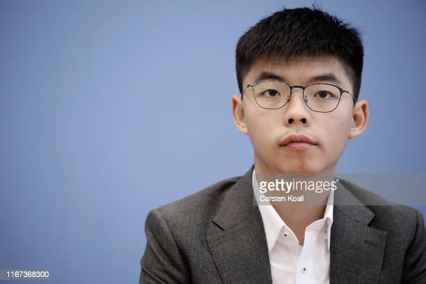 Joshua Wong, a leading pro-democracy activist from Hong Kong, speaks to the media while visiting Germany on September 11, 2019 in Berlin, Germany....