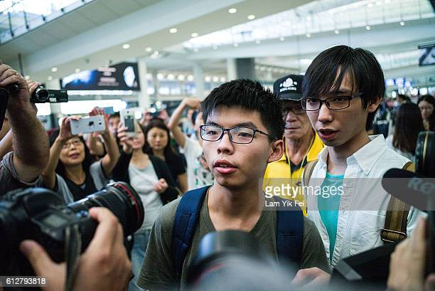 Joshua Wong arrives Hong Kong International Airport on October 5, 2016 in Hong Kong, Hong Kong. Joshua Wong, the student activist who became a global...