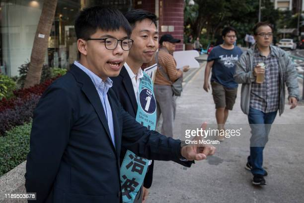 Joshua Wong campaigns with his replacement candidate Kelvin Lam on November 23, 2019 in Hong Kong, China. Hong Kong prepares for its district council...
