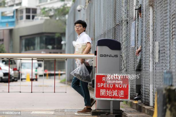 Joshua Wong, co-founder of Demosisto political party, leaves the Lai Chi Kok Reception Center after being released from prison in Hong Kong, China,...