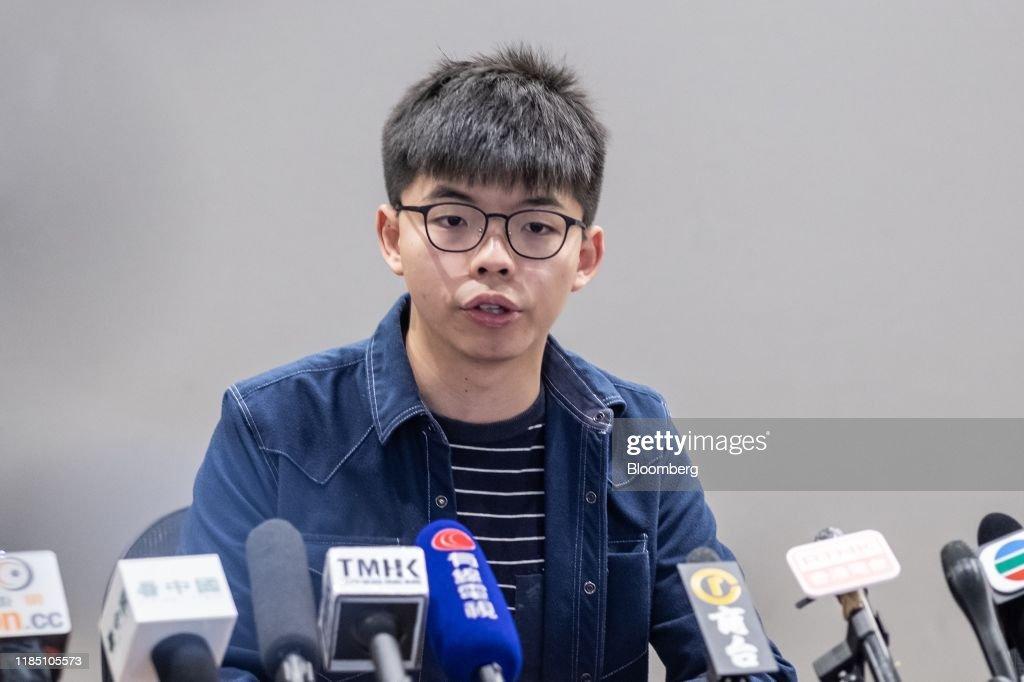 News Conference With Demosisto Co-Founder Joshua Wong As Trump Signs Bill Backing Hong Kong Protesters : News Photo