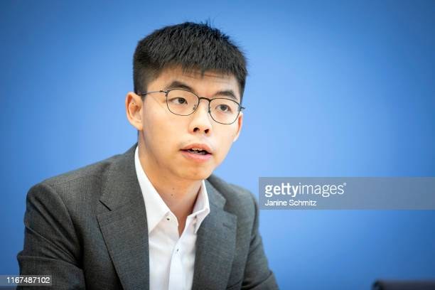 BERLIN GERMANY SEPTEMBER Joshua Wong prodemocracy activist from Hong Kong and Secretary General of Demosisto is pictured during a press conference...