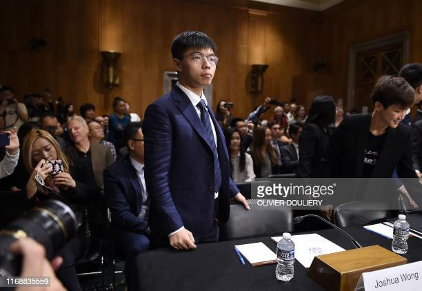 "Joshua Wong, secretary-general of Hong Kong's Demosisto party and leader of the ""Umbrella Movement"" arrives to testify before the..."